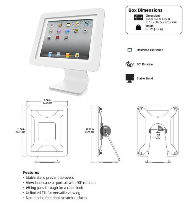 white secure ipad stand specs